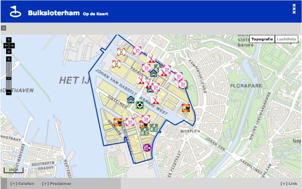 Kaart met (toekomstige) initiatieven in Buiksloterham